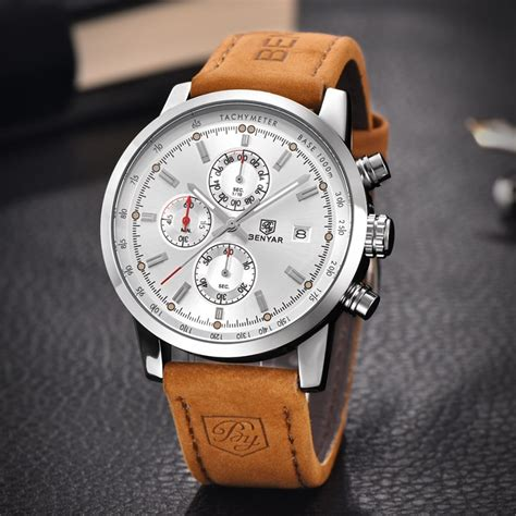 benyar new fashion chronograph genuine leather sport mens