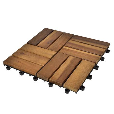 piastrelle di legno set 20 piastrelle in legno di acacia per pavimento 30 x 30