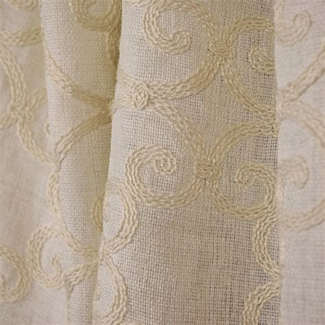 sheer drapery fabric by the yard leiden natural embroided semi sheer crewel fabric by the