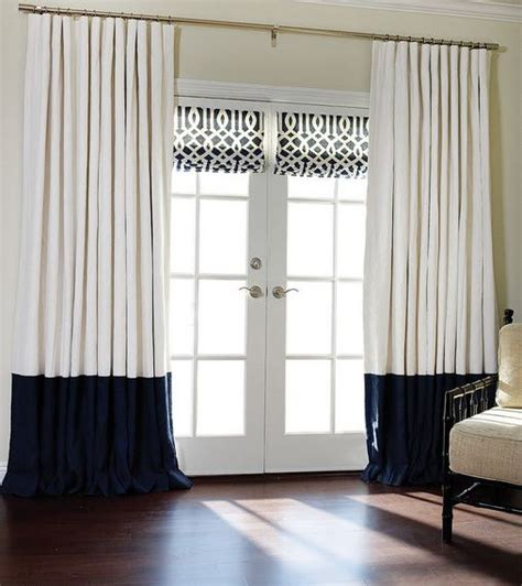 Flat Panel Curtains Flat Panels Rod Pocket Drapes Pair White And Navy Blue