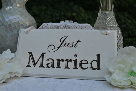 Handmade Wedding Signs - just married wedding sign handmade laser engraved