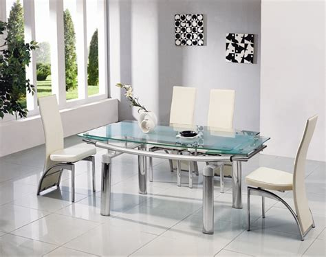 Extendable Glass Dining Table And Chairs Delta Mega Extending Glass Chrome Dining Table And Chairs