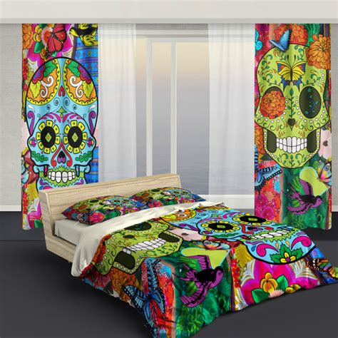 sugar skull bedding curtains sugar skull culture