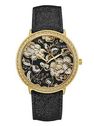 Guess Motif Floral Black black and gold tone floral guess