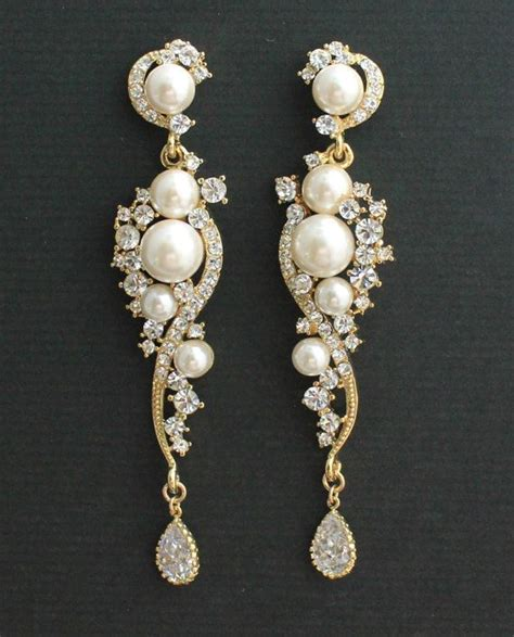 Bridal Chandelier Earrings With Pearls Gold Earrings Bridal Earrings Gold And Pearl Wedding Earrings Lilly