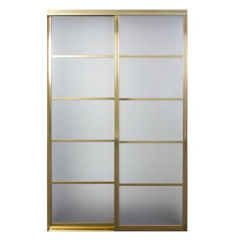 96 Sliding Closet Doors Contractors Wardrobe Silhouette 60 In X 96 In Bright Gold 5 Lite Mystique Glass Aluminum
