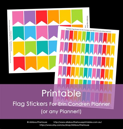 printable planner stickers erin condren 6 best images of printable calendar planner flags stickers