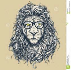 hipster lion vector illustration glasses separated stock