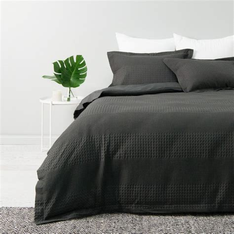 King Bed Cover Set Cotton Jacquard Waffle Quilt Cover Set King Bed Granite Linen Room