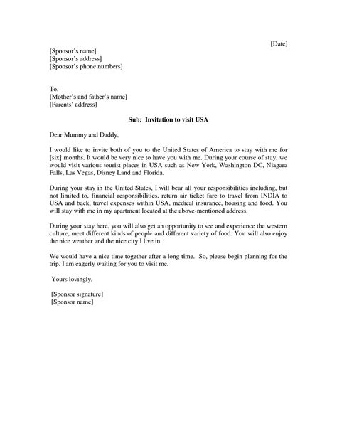 cover letter exles for usa invitation letter for visitor visa usa invitation librarry