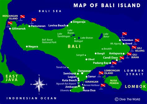 map of bali bali map tulamben lembongan menjangan kuta dive the world indonesia