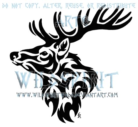 tribal deer head tattoos tribal stag by wildspiritwolf on deviantart