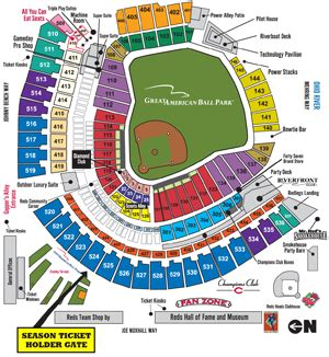 great american ballpark map season ticket holder early access cincinnati reds