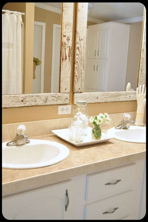 cottage mirrors for bathrooms weathered white painted wood beautiful bathroom i love