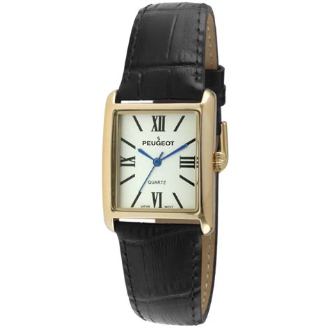square gold leather black peugeot watches