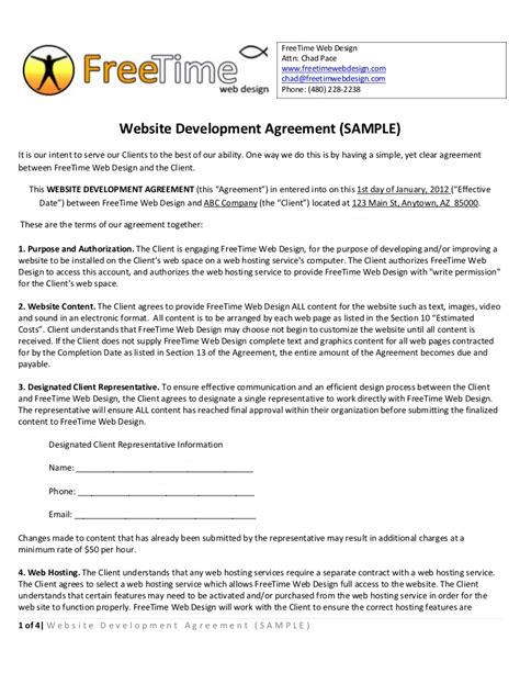 Sle Website Development Agreement Simple Web Design Contract Template