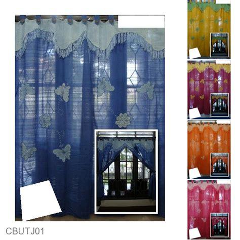 Gorden Batik Etnik Pekalongan gorden jendela sambung tenun motif kupu tari tirai jendela murah batikunik