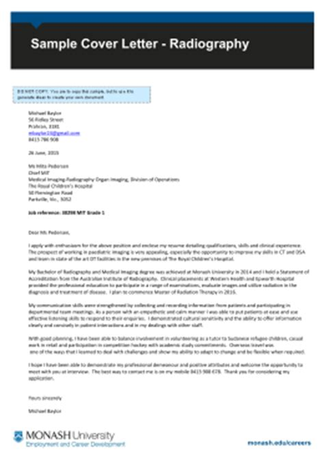 Cover Letter Radiography by Engineering Vacation Program Sle Cover Letter