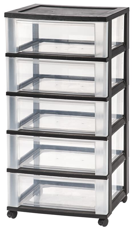 5 Drawer Organizer Cart Iris 5 Drawer Wide Storage Cart Black