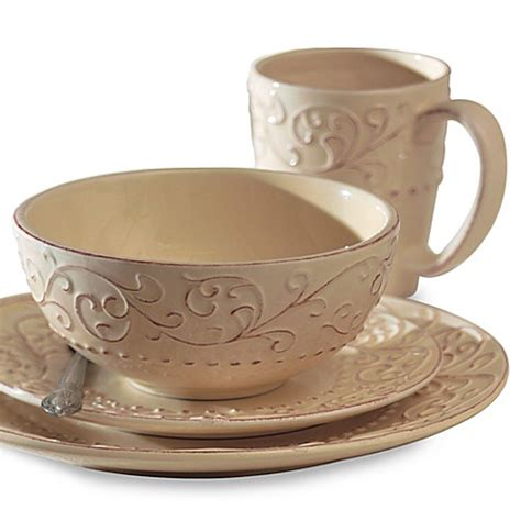bed bath and beyond dinnerware buy american atelier 16 piece bianca cream dinnerware set from bed bath beyond