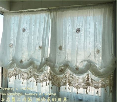 Adjustable Blinds Windows Decorating Adjustable Balloon Shade Crochet Hook Sheer Curtain Scalloped Window Curtain Ebay