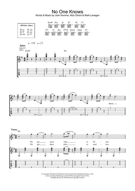 guitar lesson queens of the stone age no one knows by queens of the stone age guitar tab