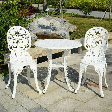 White Patio Furniture Set 3 Cast Aluminum Durable Tea Set Patio Furniture Garden Furniture Outdoor Furniture White