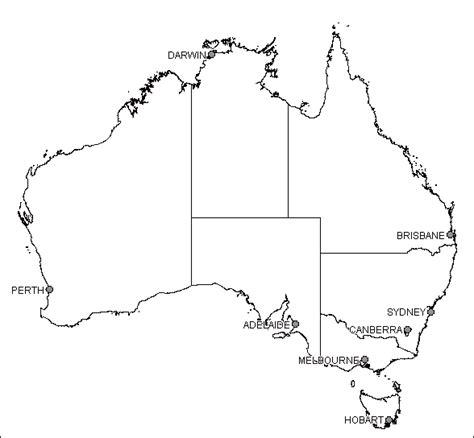 Australia Outline Map by Blank Australia Map Dr