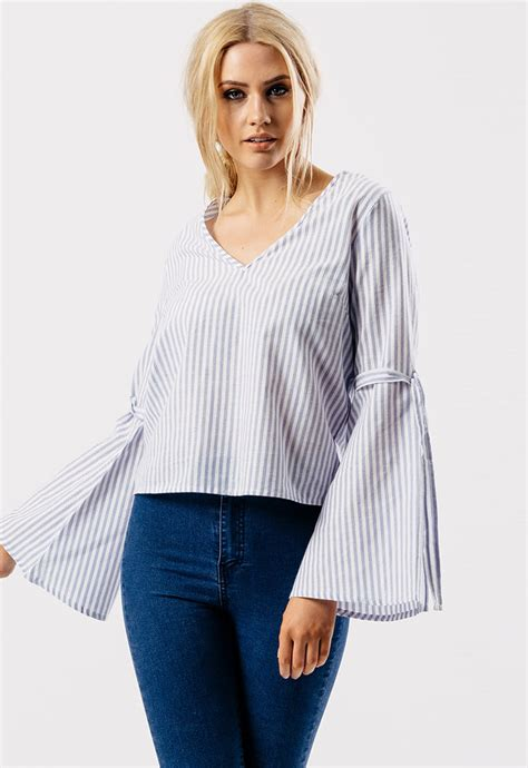Stripe V Neck Sleeve Top blue stripe v neck tie fasten flare sleeve top miss rebel