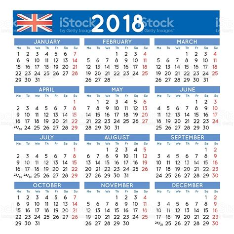 2018 squared calendar uk week starts on monday