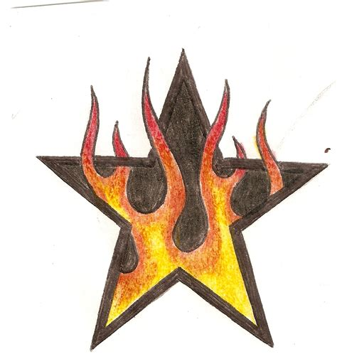 star with flames tattoo designs and by twistedrazorblade on deviantart