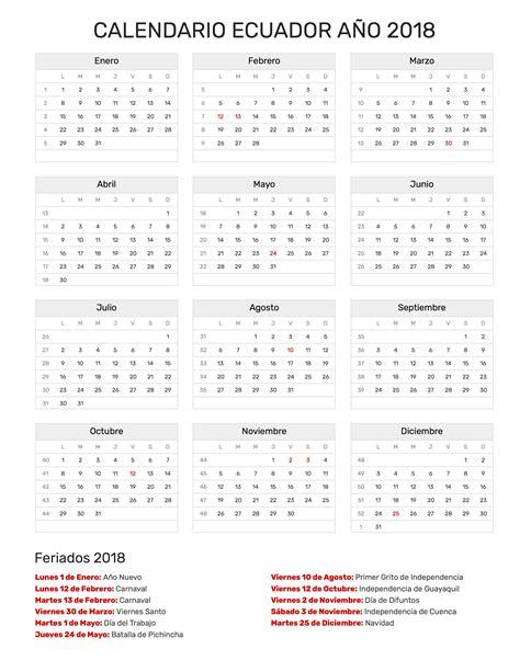 Calendario 2018 Para Imprimir Con Feriados Calendario Ecuador A 241 O 2018 Feriados 2018