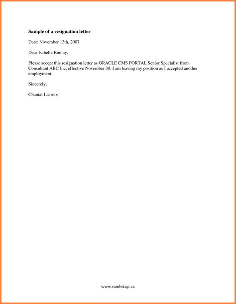 2 Week Letter Of Resignation by 9 Simple Two Week Notice Template Notice Letter