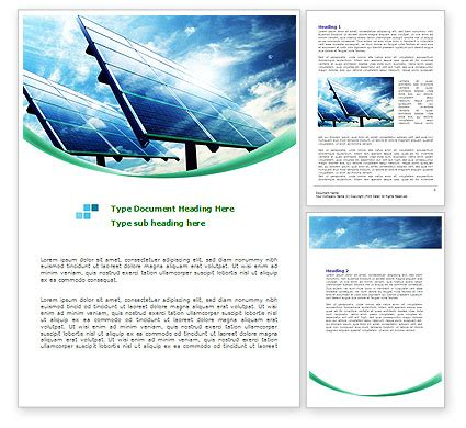 solar panel powerpoint template solar panels in blue colors word template 08112