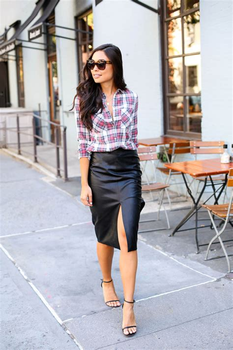Combine Skirt combine two of fall s trends pair plaid with a faux leather pencil skirt for