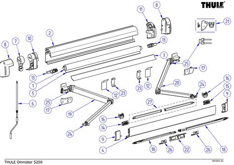 omnistor awning spares thule omnistor 5200 awning spare parts diagram