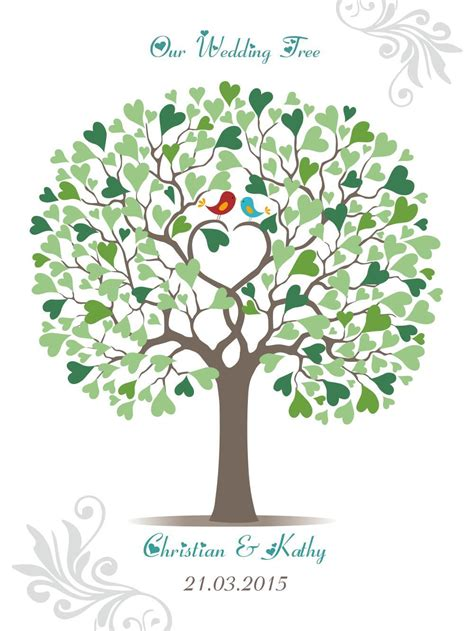 Wedding Tree by 2016 Wedding Tree Guest Book Signature Only Lover Birds