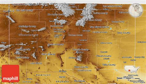 physical map of new mexico physical panoramic map of new mexico