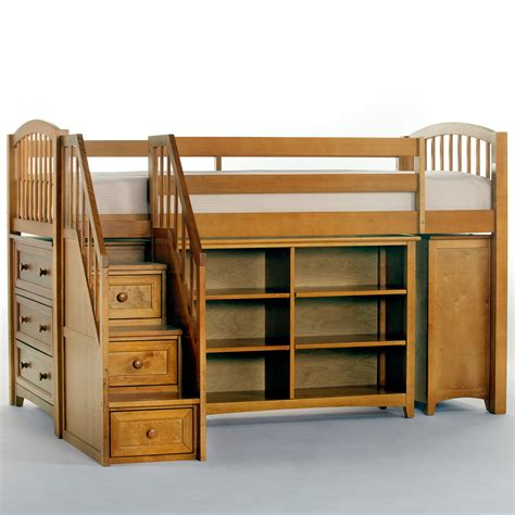 Stairs For Loft Bed by Schoolhouse Storage Junior Loft With Stairs Pecan Bunk