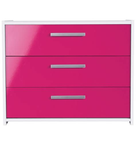 Sywell Bedroom Furniture Sywell White Pink 3 Chest Of Drawers 615 5863