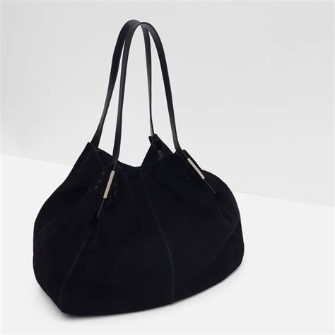 Zara Hobo Black zara suede detail handbag in black lyst