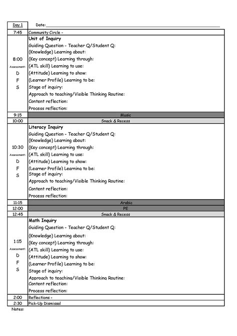day plan template for teachers pyp day plan template humans
