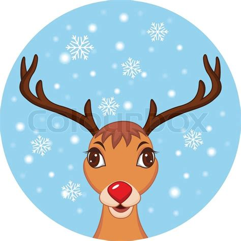 cute christmas reindeer rudolf stock vector colourbox