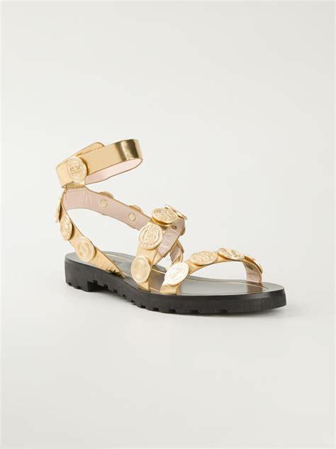 Kenzo Sandals kenzo coins sandals in metallic lyst