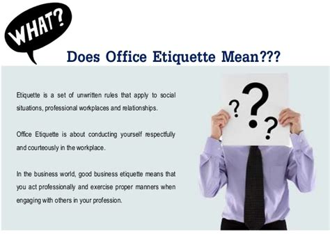 Office Etiquette Office Etiquette Basic Of Office Conduct