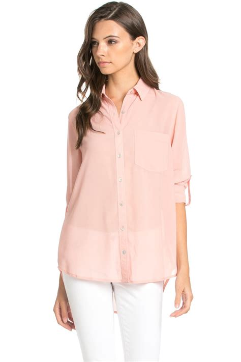 S Chiffon Button Blouse by Roll Up Sleeve Button Blush Chiffon Blouse My Yuccie