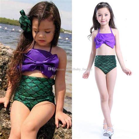 Gw Se 11 I Big Swimsuit 2018 baby mermaid swimwear set children big bow swimsuit bath suit beachwear