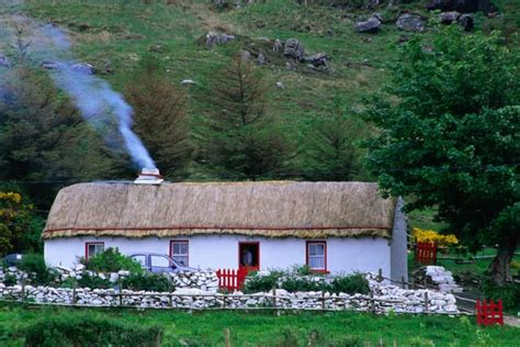 donegal cottage a farm house with smoke blowing from the chimney glengesh