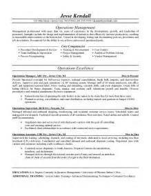 operations manager resume exles sles resume