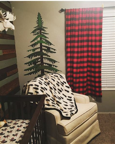 woodland themed curtains lumberjack nursery nursing area with moose head and pine